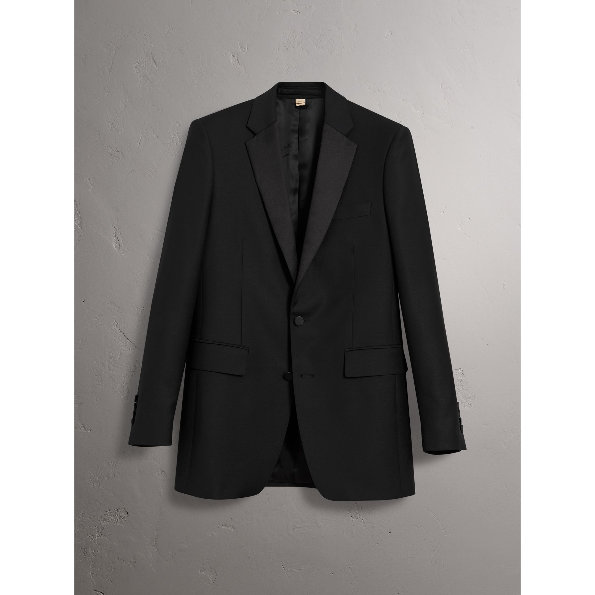 Modern Fit Wool Mohair Tuxedo in Black - Men | Burberry United Kingdom - gallery image 3