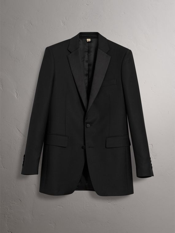 Modern Fit Wool Mohair Tuxedo in Black - Men | Burberry Canada - cell image 3