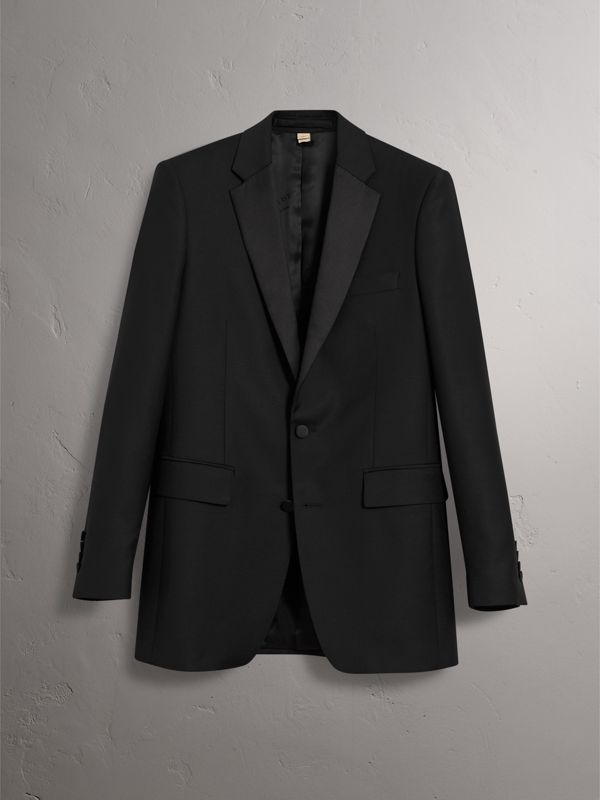 Modern Fit Wool Mohair Tuxedo in Black - Men | Burberry United Kingdom - cell image 3