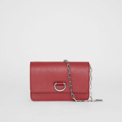 The Mini Leather D-Ring Bag in Crimson