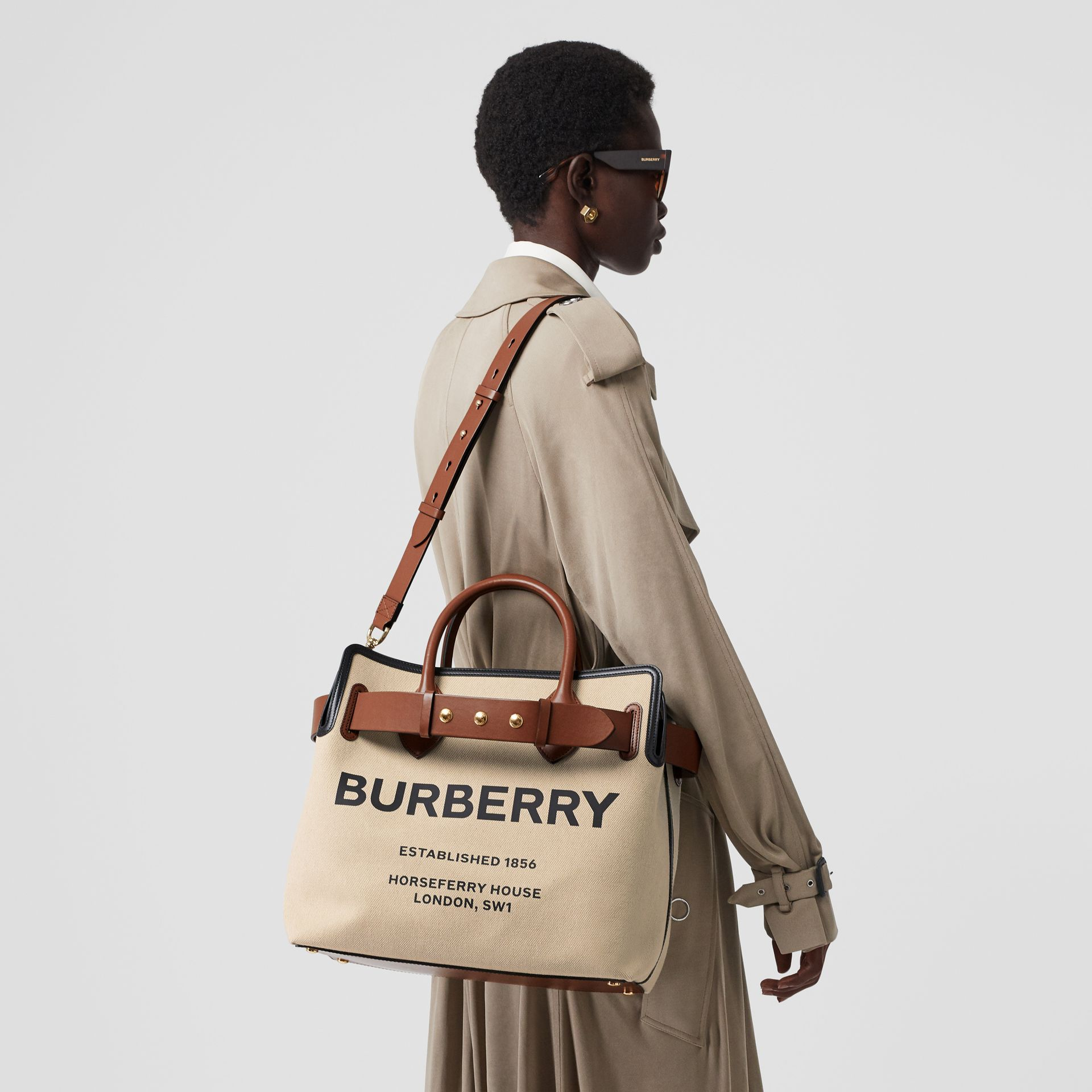 The Medium Cotton Canvas Triple Stud Belt Bag in Malt Brown/black - Women | Burberry Australia - gallery image 2