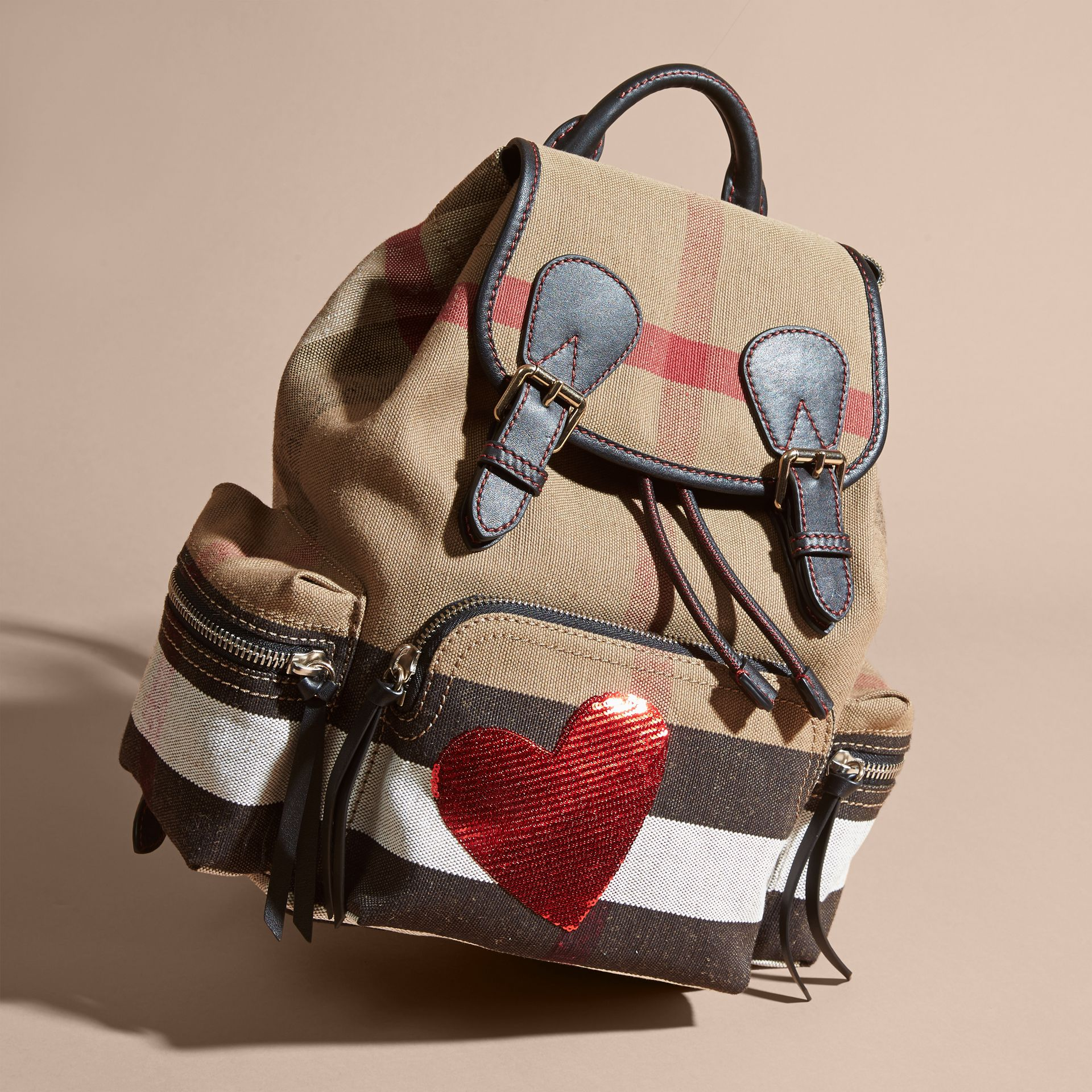 Red The Medium Rucksack in Canvas Check with Sequinned Heart - gallery image 7