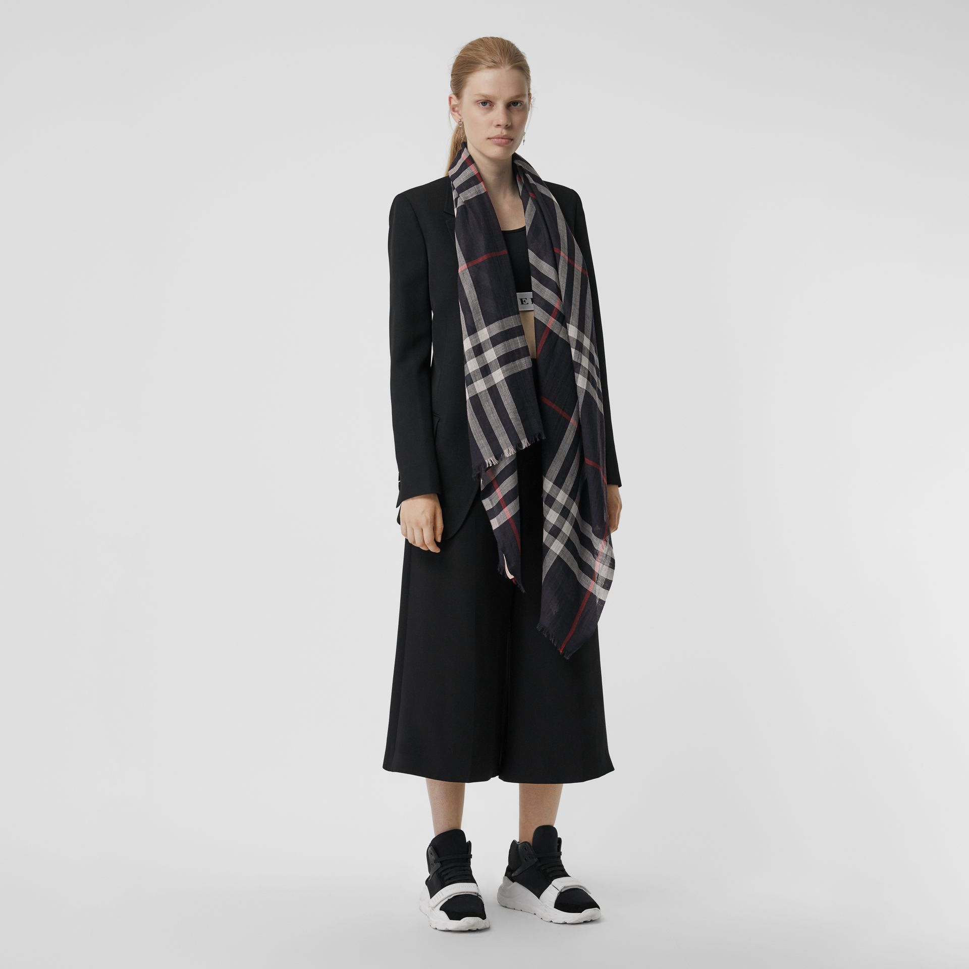 Lightweight Check Wool and Silk Scarf in Navy | Burberry Australia - gallery image 2