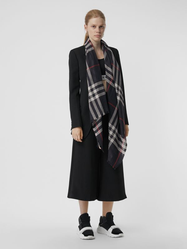 Lightweight Check Wool and Silk Scarf in Navy | Burberry Australia - cell image 2