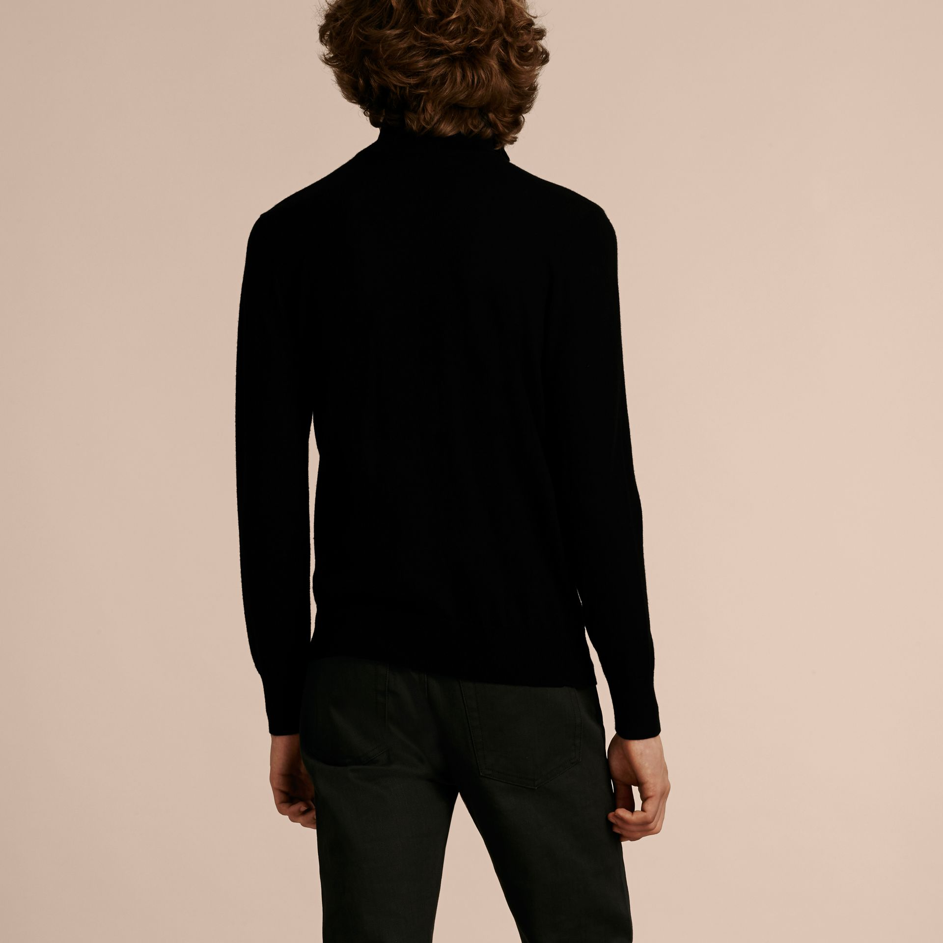 Black Zip-collar Cashmere Sweater Black - gallery image 3