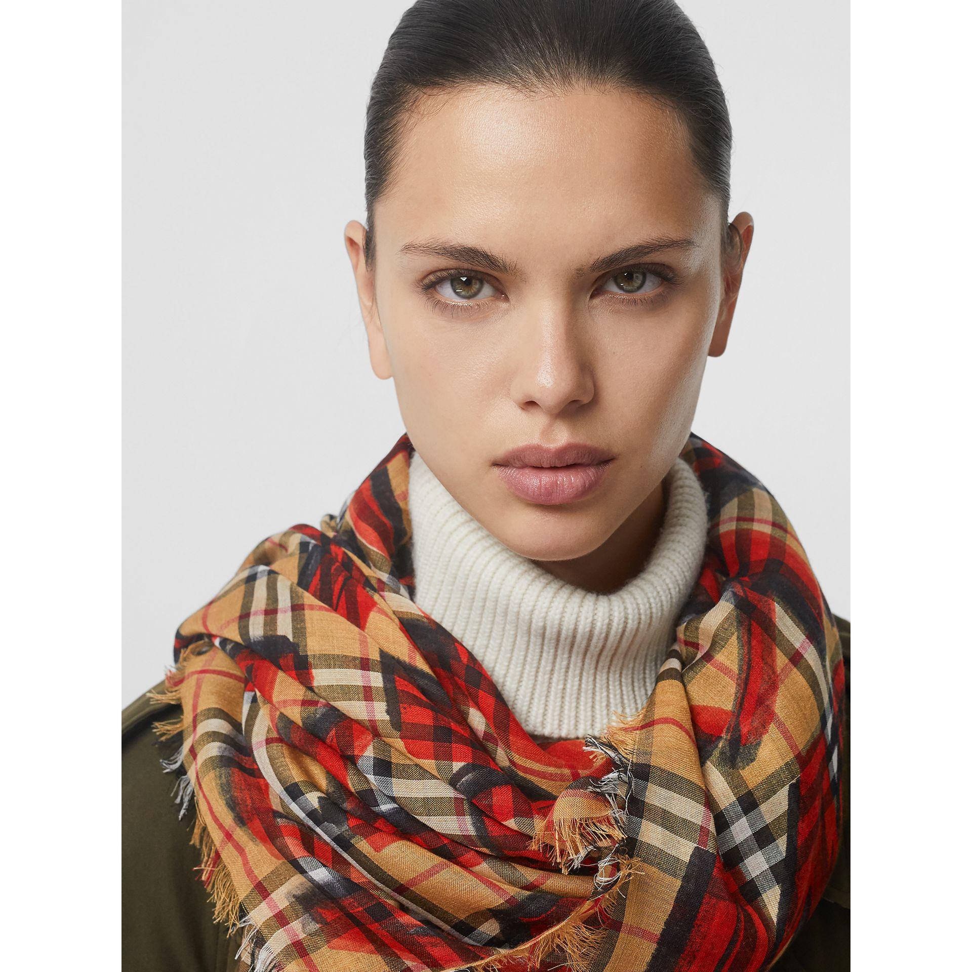 Graffiti Print Check Wool Silk Large Square Scarf in Bright Red | Burberry United States - gallery image 5