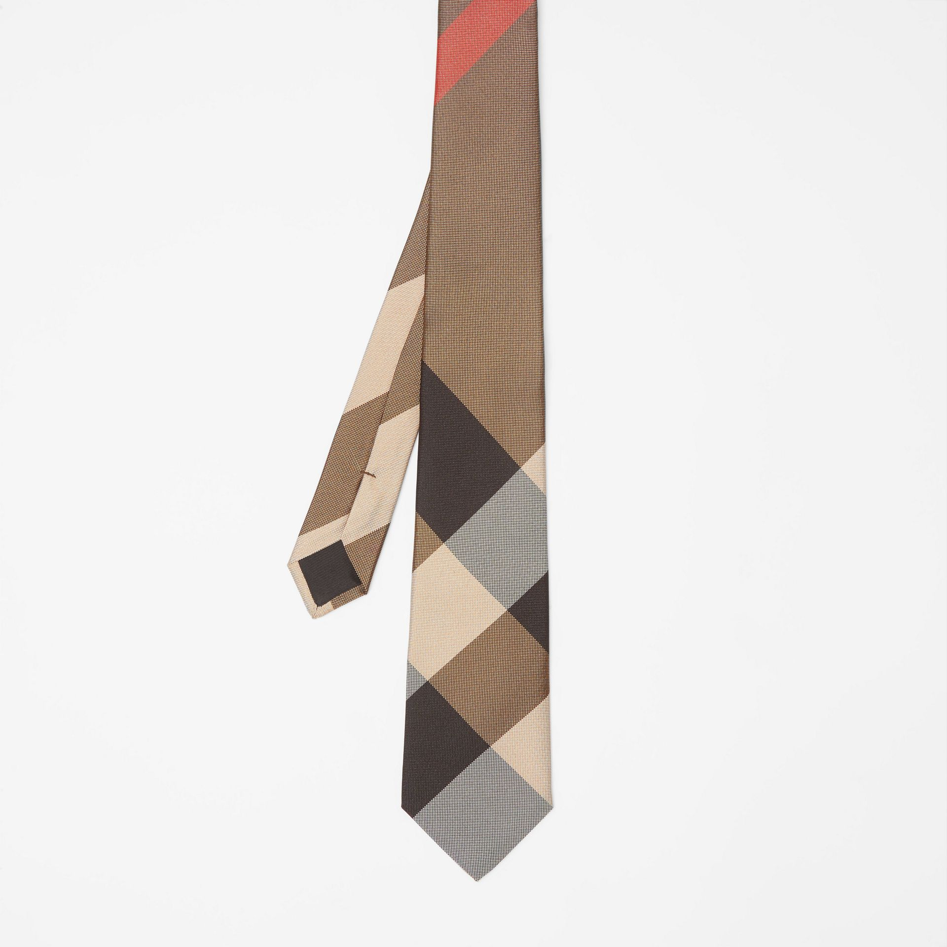 Modern Cut Oversized Check Silk Tie in Archive Beige - Men | Burberry - gallery image 4