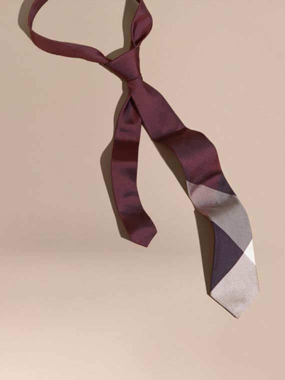Modern Cut Check Jacquard Silk Tie Deep Burgundy
