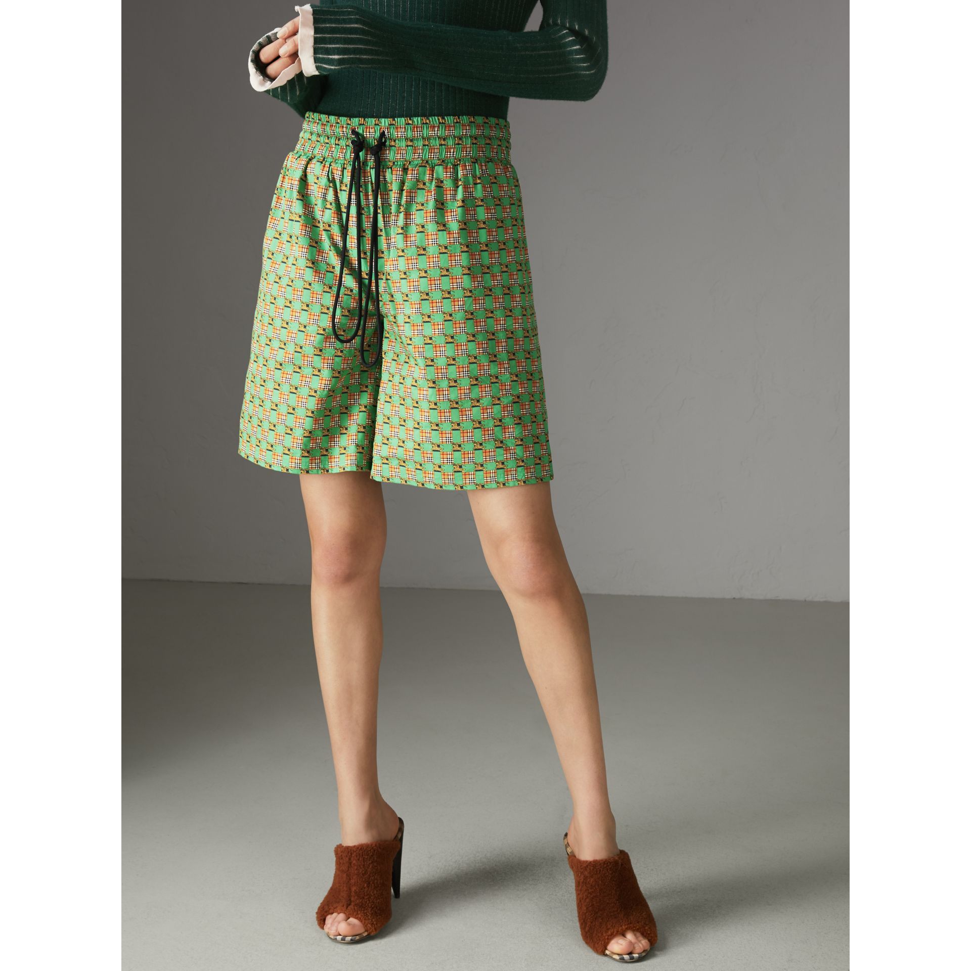 Tiled Archive Print Cotton Drawcord Shorts in Dark Forest Green - Women | Burberry - gallery image 4