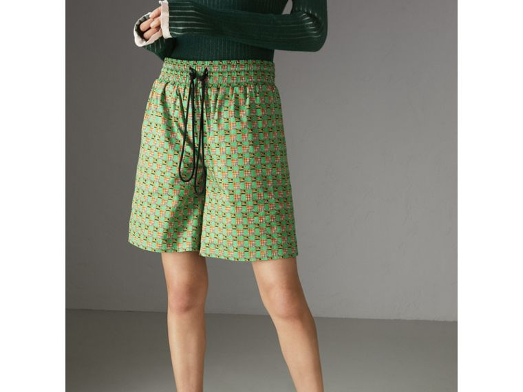 Equestrian Check Print Cotton Drawcord Shorts in Dark Forest Green - Women | Burberry - cell image 4