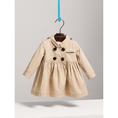 Stretch Cotton Trench Dress in Honey Children