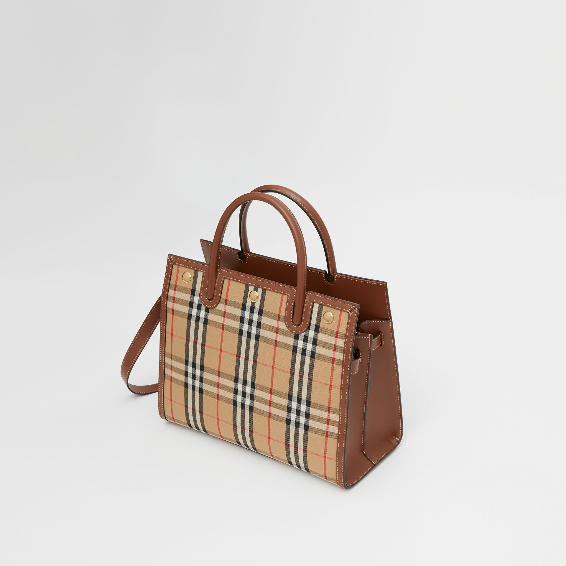 Mini Vintage Check Two-handle Title Bag in Archive Beige - Women | Burberry - gallery image 3