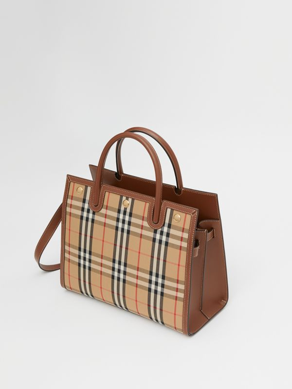 Mini Vintage Check Two-handle Title Bag in Archive Beige - Women | Burberry - cell image 3