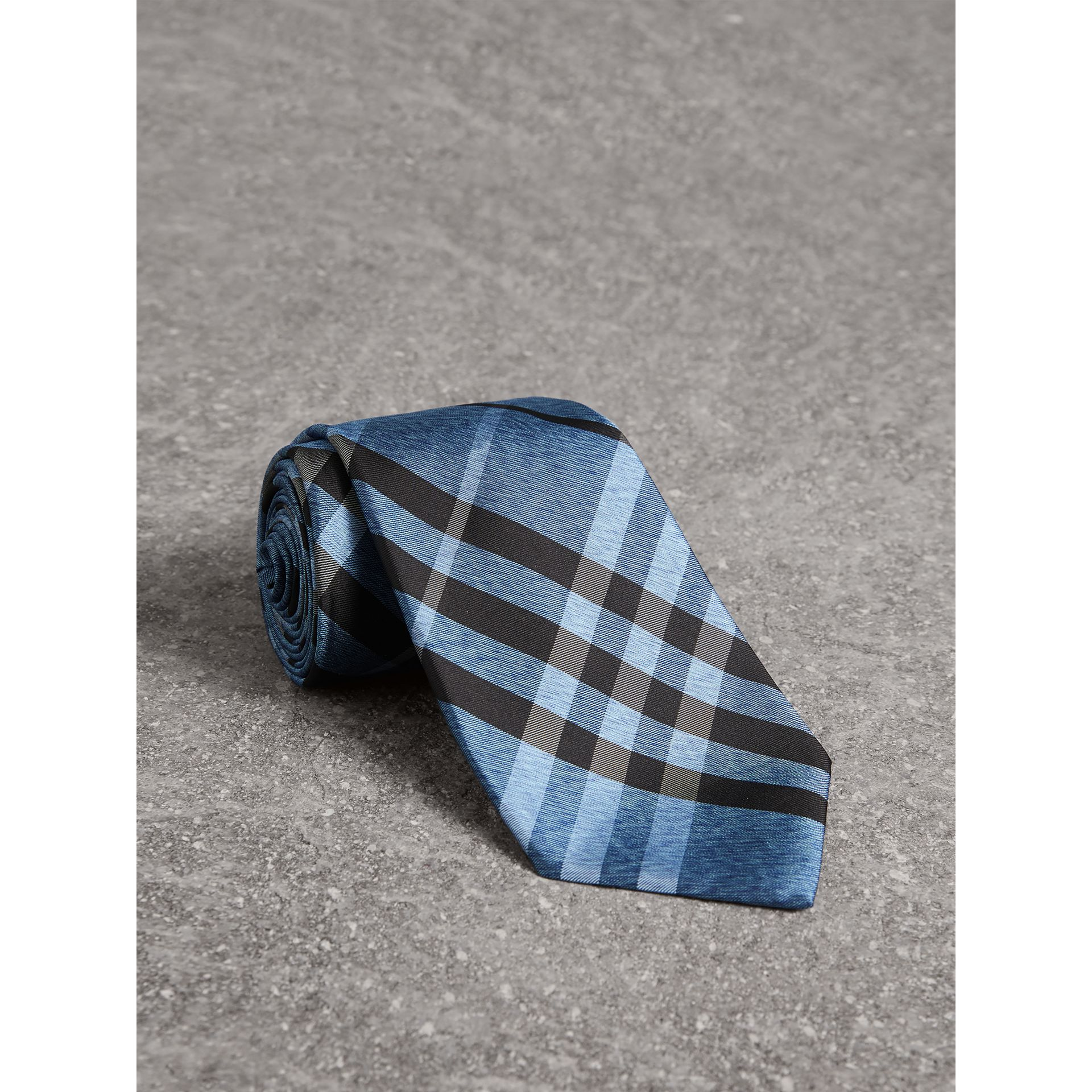 Classic Cut Check Silk Tie in Steel Blue - Men | Burberry United States - gallery image 0