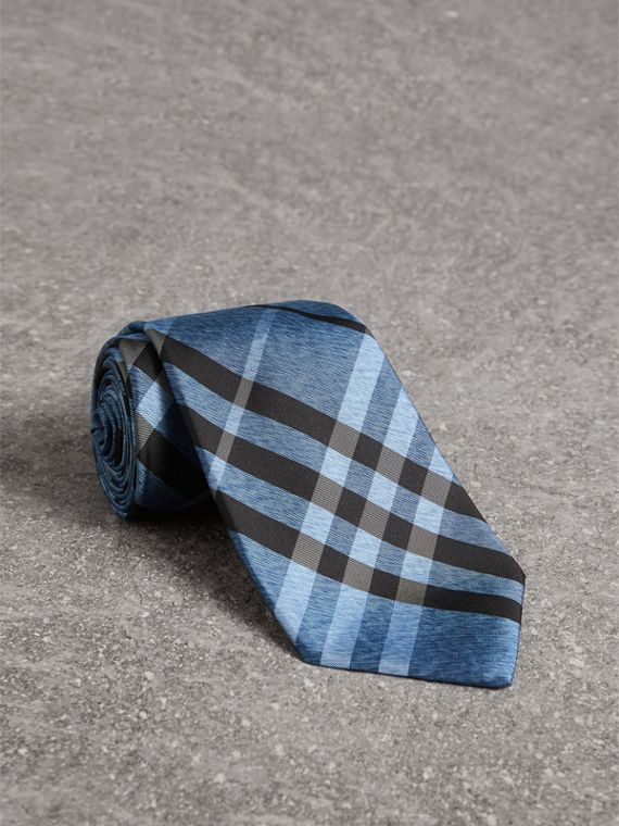 Classic Cut Check Silk Tie in Steel Blue