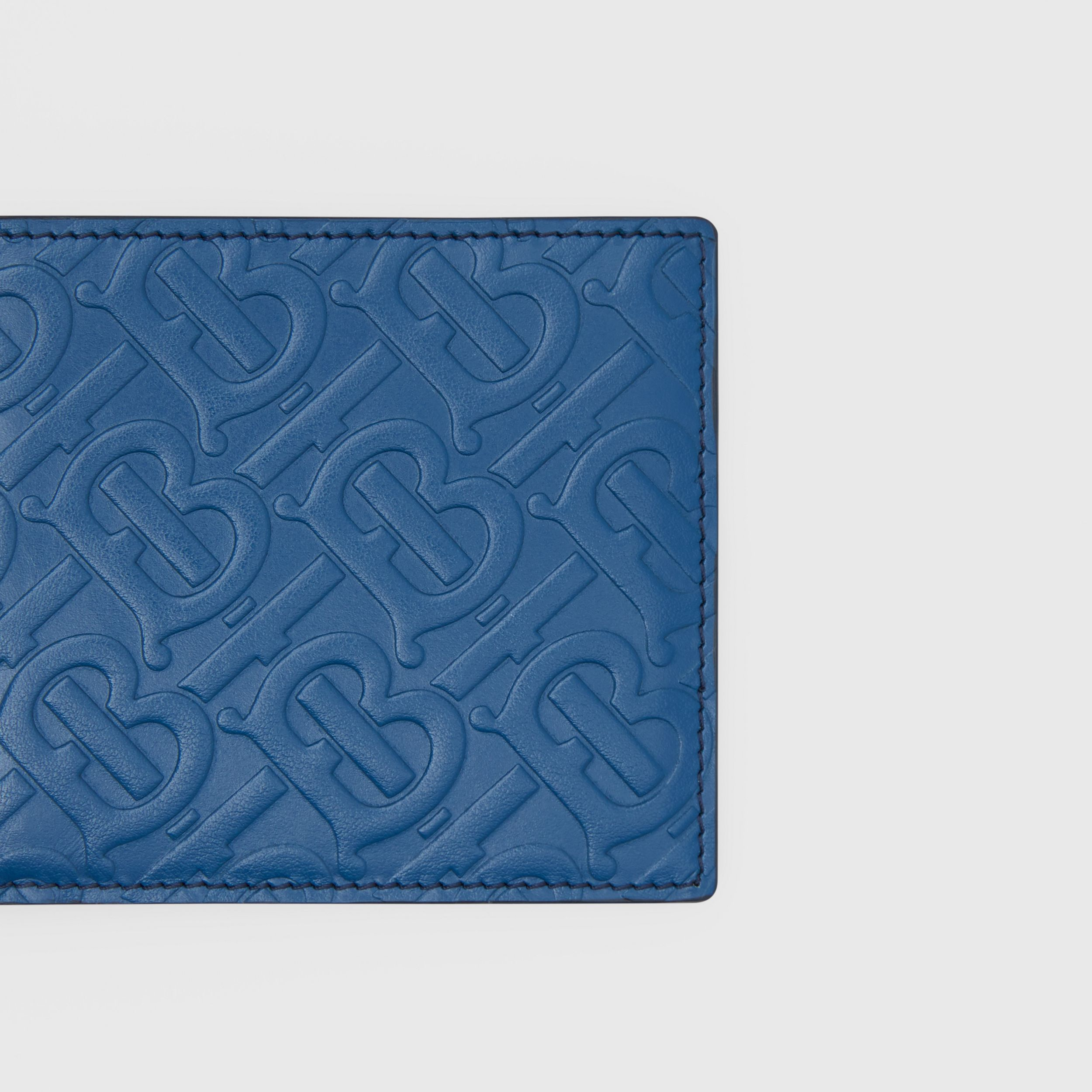 Monogram Leather International Bifold Wallet in Pale Canvas Blue - Men | Burberry - 2