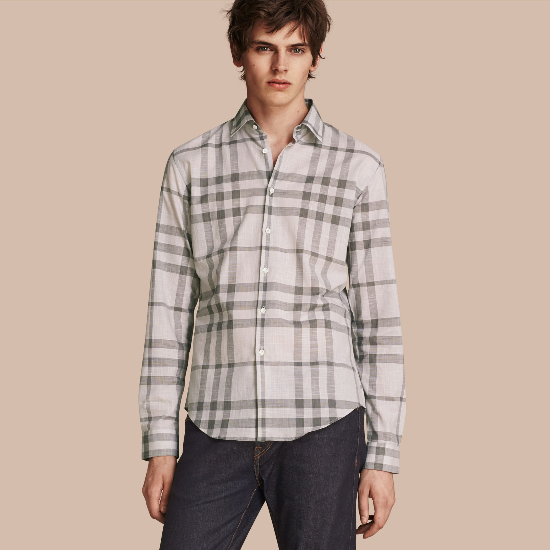 Check Cotton Chambray Shirt Mid Grey - gallery image 1