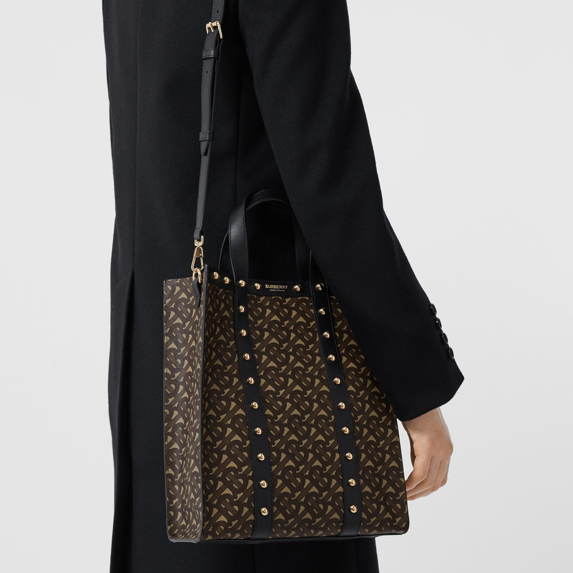 Small Monogram Print E-canvas Portrait Tote Bag in Black - Women | Burberry - gallery image 10