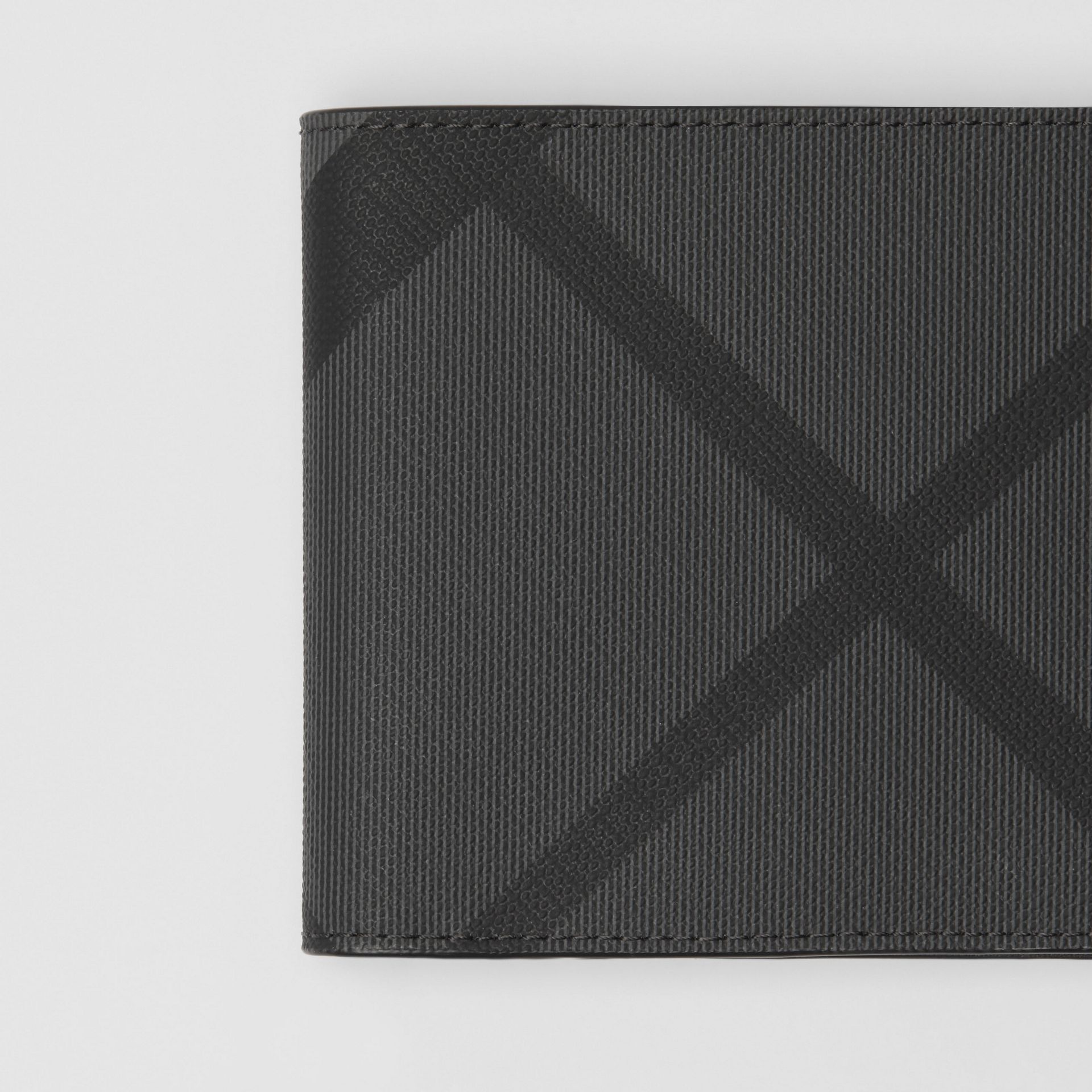 London Check and Leather International Bifold Wallet in Charcoal/black - Men | Burberry United Kingdom - gallery image 1