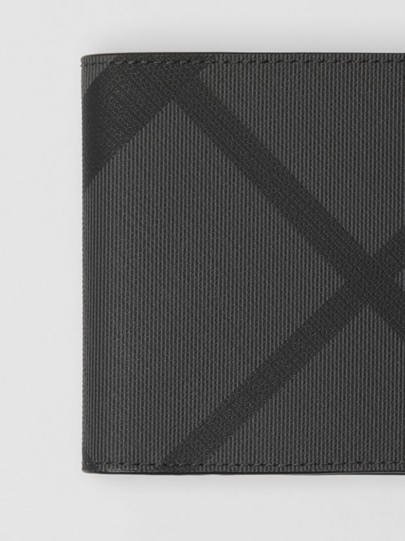London Check and Leather International Bifold Wallet in Charcoal/black - Men | Burberry United Kingdom - cell image 1