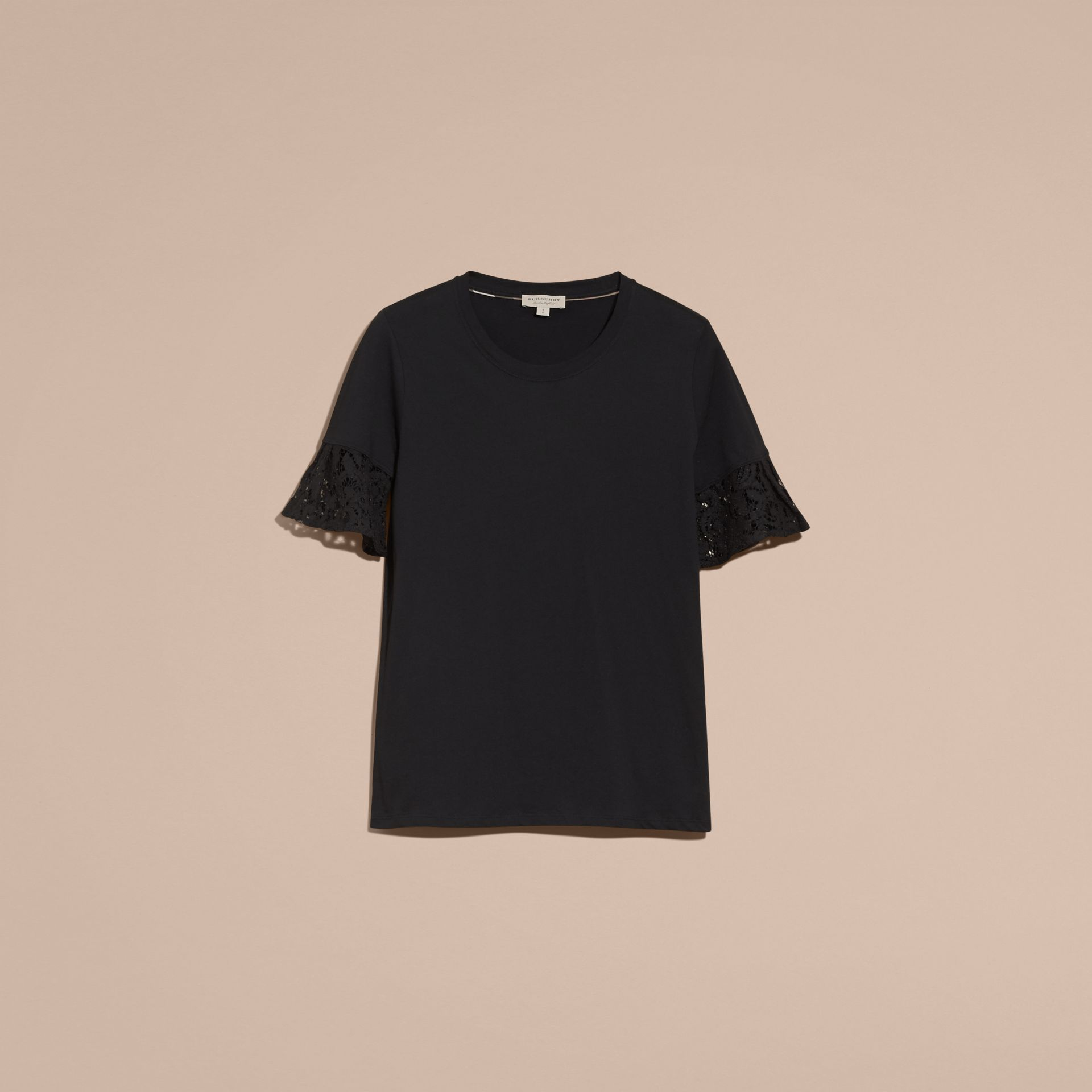 Lace Trim Cotton T-shirt Black - gallery image 4
