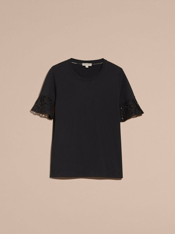 Black Lace Trim Cotton T-shirt Black - cell image 3