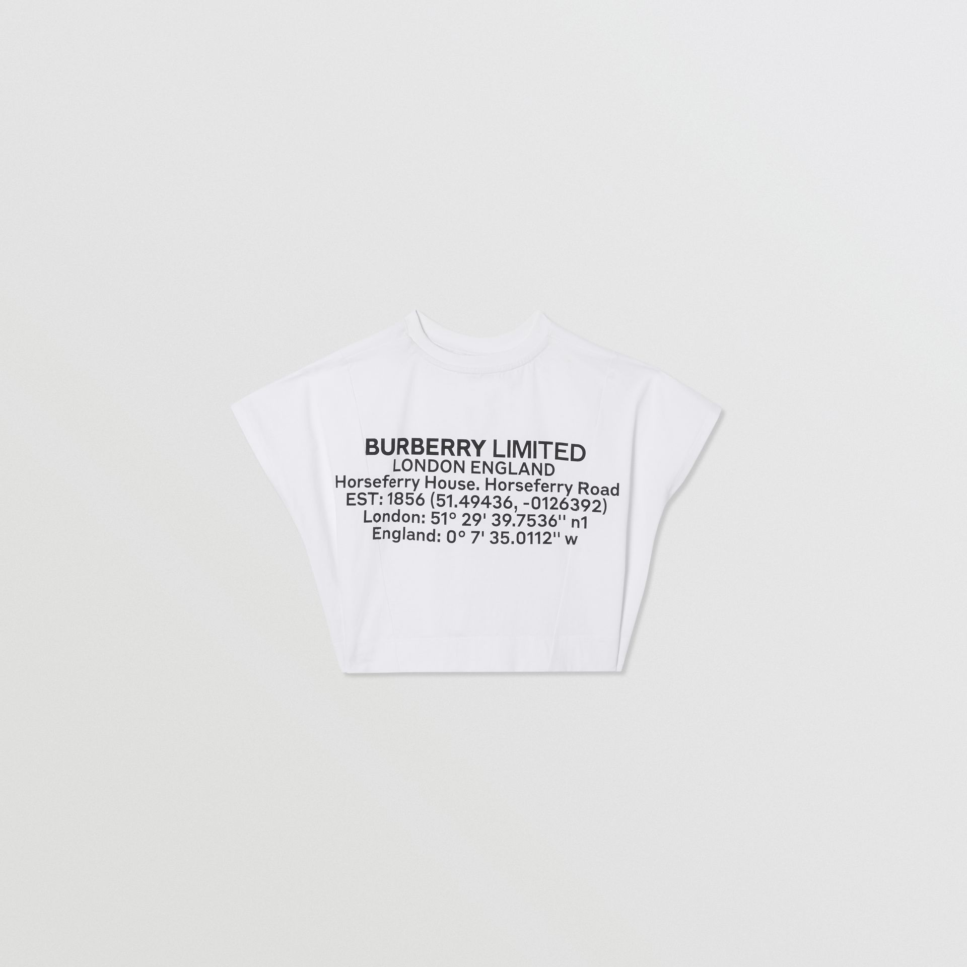 Location Print Cotton Top in White | Burberry United Kingdom - gallery image 3