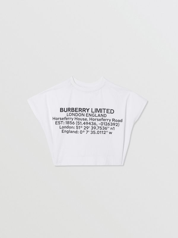 Location Print Cotton Top in White | Burberry United Kingdom - cell image 3