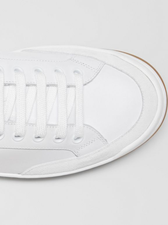 Perforated Logo Leather Tennis Sneakers in Optic White - Men | Burberry Singapore - cell image 1