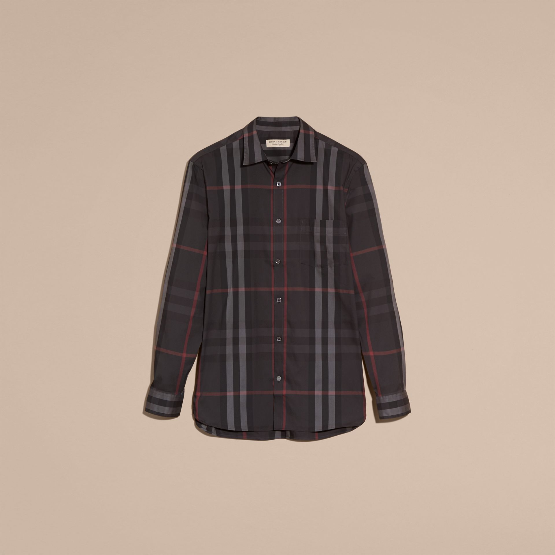 Check Stretch Cotton Shirt in Dark Charcoal - Men | Burberry - gallery image 4