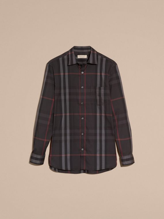 Check Stretch Cotton Shirt in Dark Charcoal - Men | Burberry - cell image 3