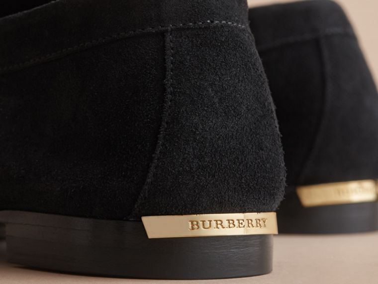 Tasselled Suede Loafers in Black - Women | Burberry - cell image 1