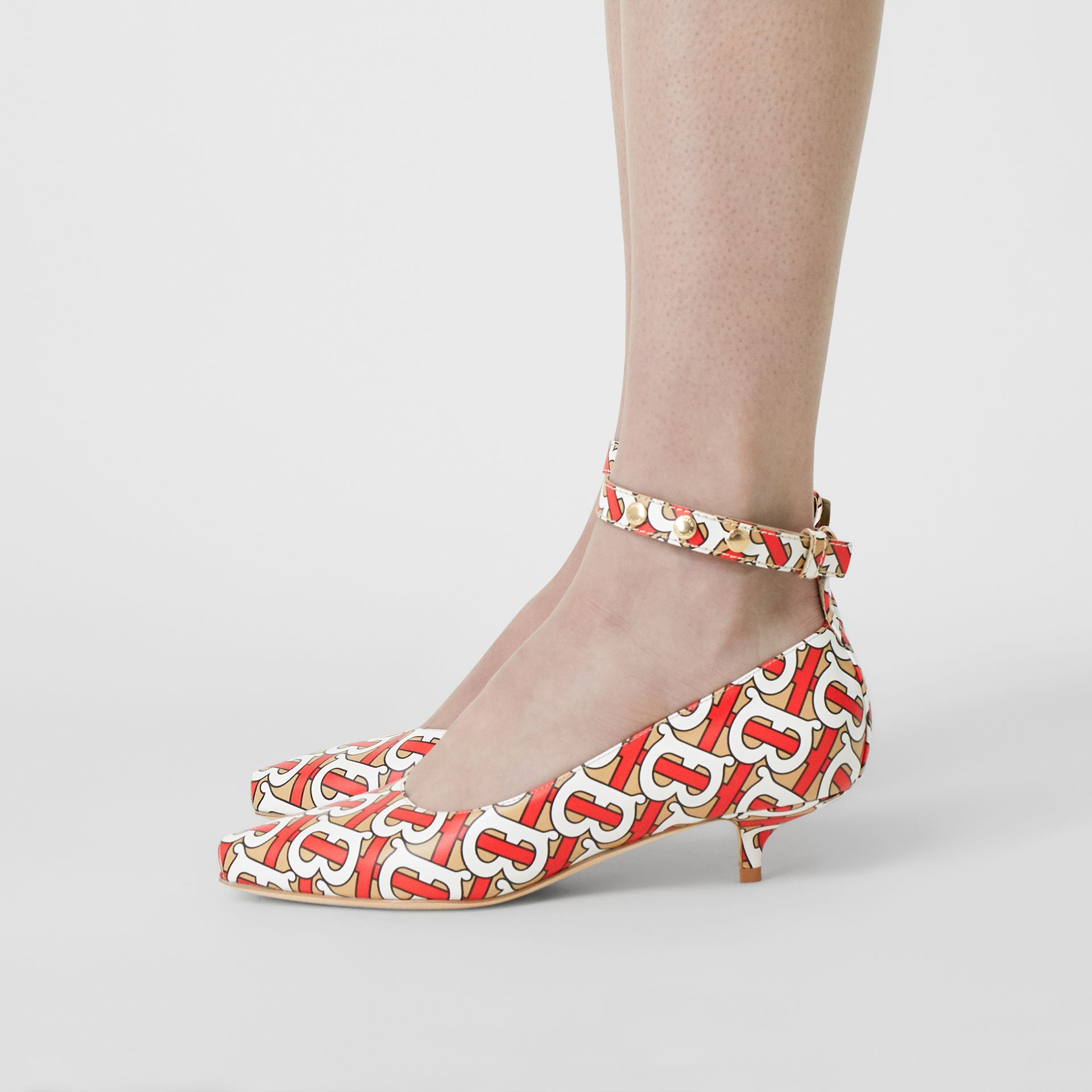 Monogram Print Leather Peep-toe Kitten-heel Pumps in Tawny - Women | Burberry Australia - gallery image 2