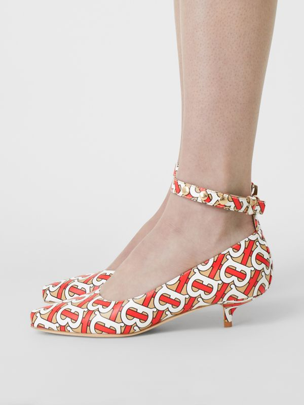 Monogram Print Leather Peep-toe Kitten-heel Pumps in Tawny - Women | Burberry Australia - cell image 2
