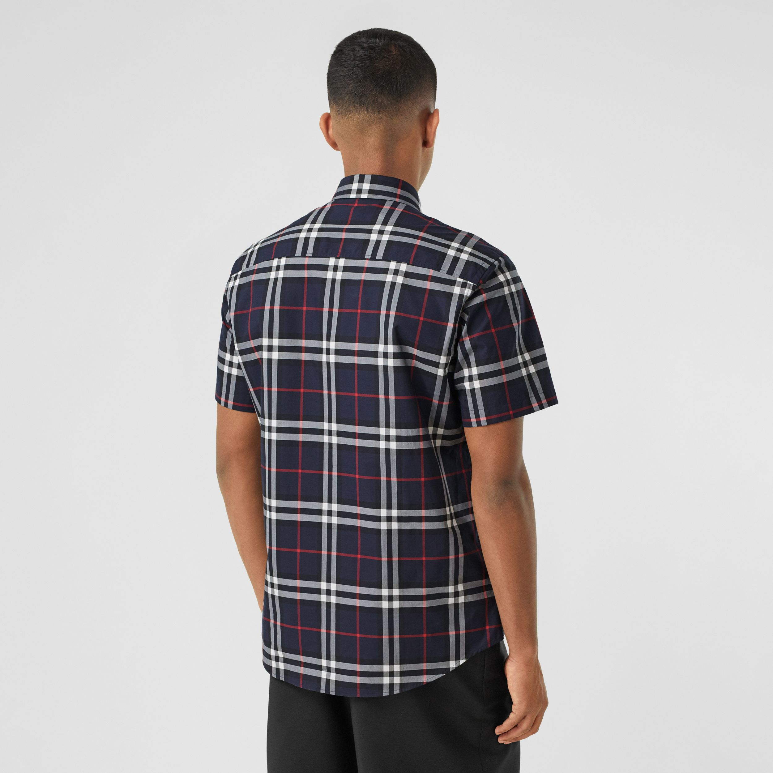 Short-sleeve Check Cotton Poplin Shirt in Navy - Men | Burberry - 3