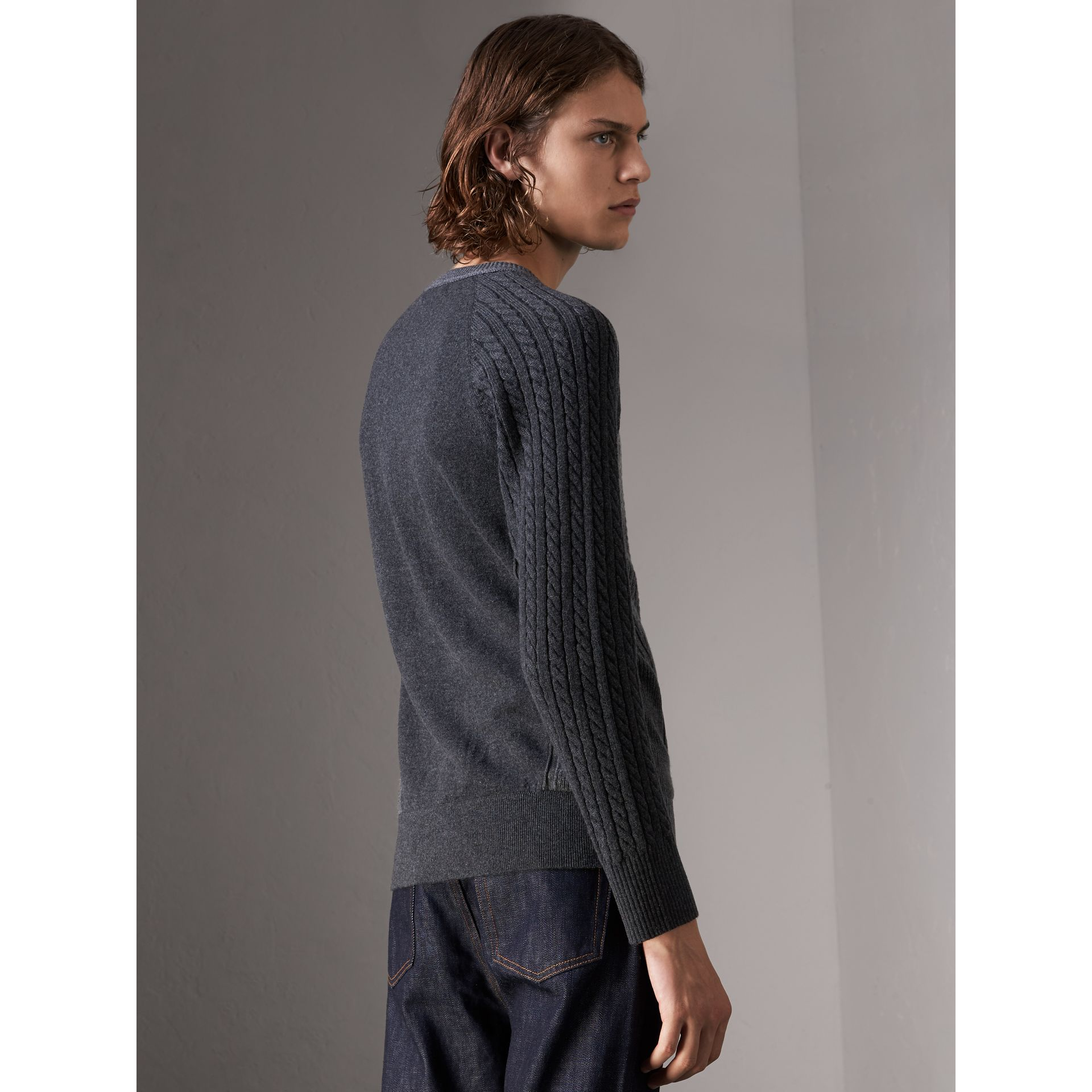 Two-tone Cable Knit Cashmere Sweater in Charcoal - Men | Burberry - gallery image 3