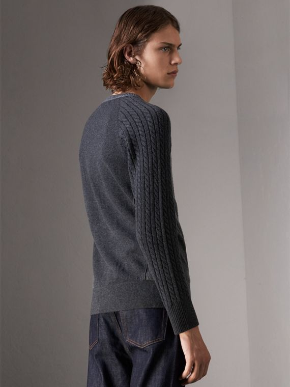 Two-tone Cable Knit Cashmere Sweater in Charcoal - Men | Burberry Canada - cell image 2