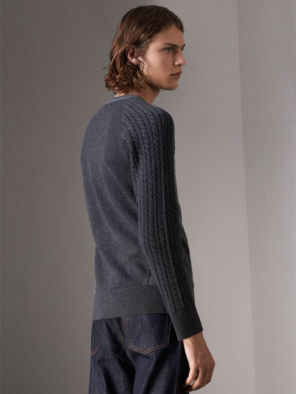 Two-tone Cable Knit Cashmere Sweater in Charcoal - Men | Burberry - cell image 2