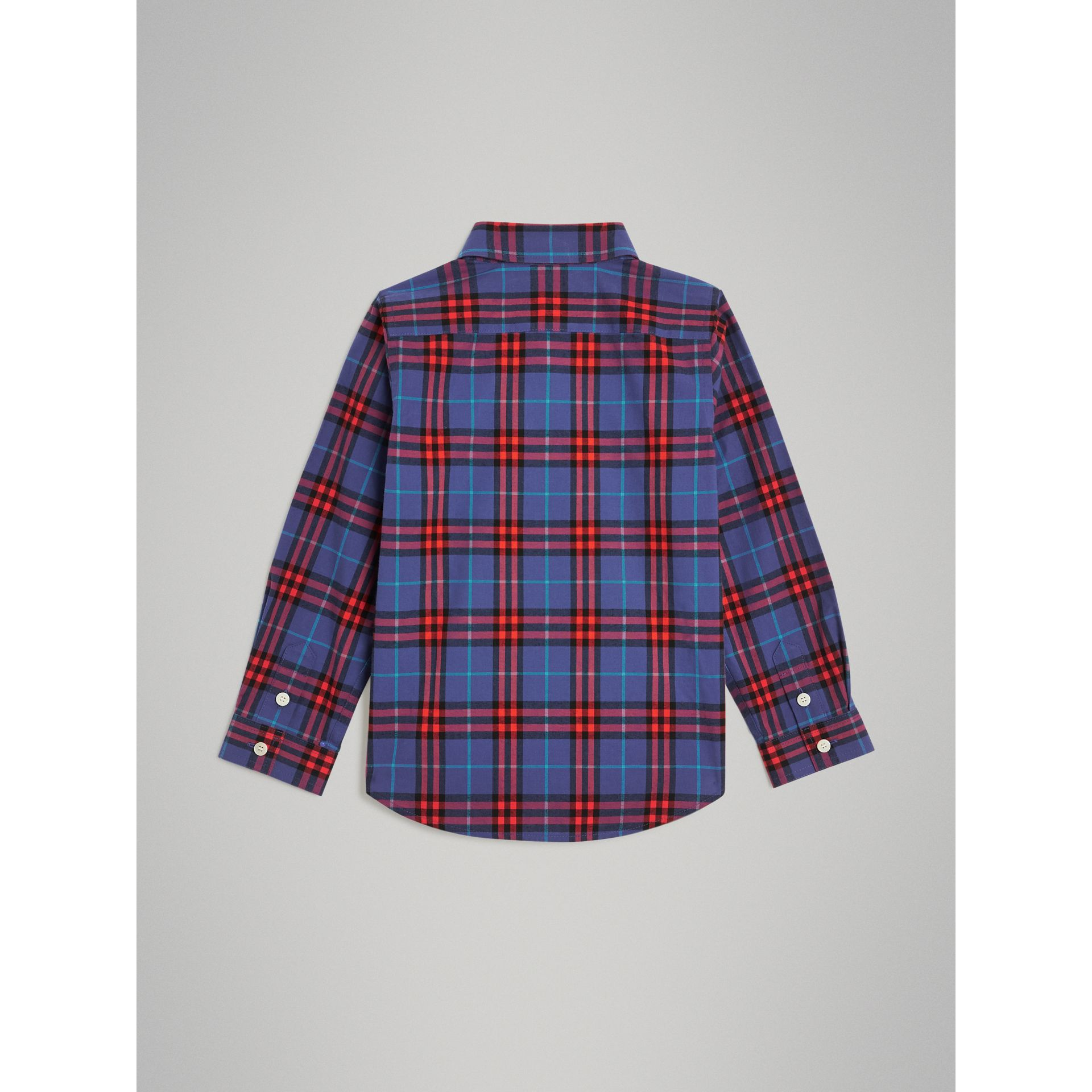 Button-down Collar Check Flannel Shirt in Sapphire Blue | Burberry - gallery image 3