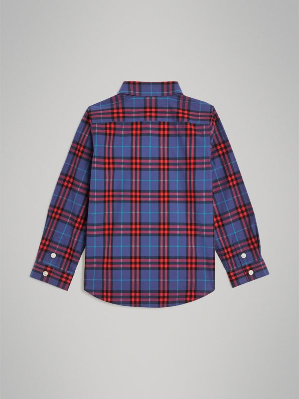 Button-down Collar Check Flannel Shirt in Sapphire Blue | Burberry - cell image 3