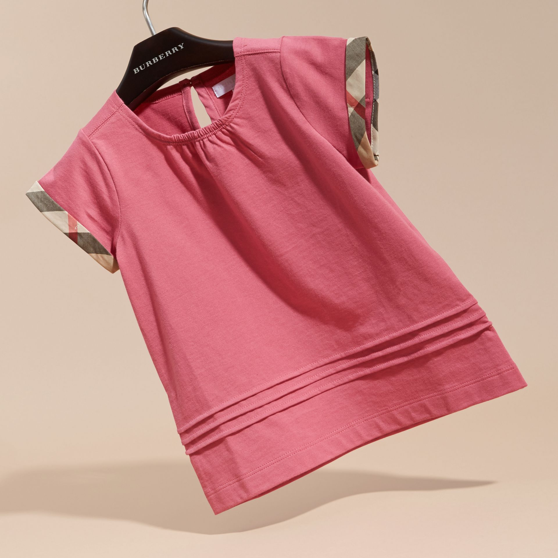 Pleat and Check Detail Cotton T-shirt in Pink Azalea - gallery image 3