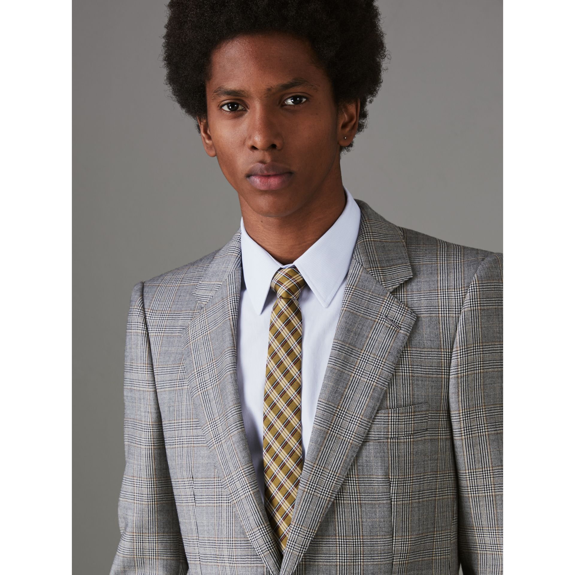 Slim Cut Check Silk Jacquard Tie in Saffron Yellow - Men | Burberry United Kingdom - gallery image 2