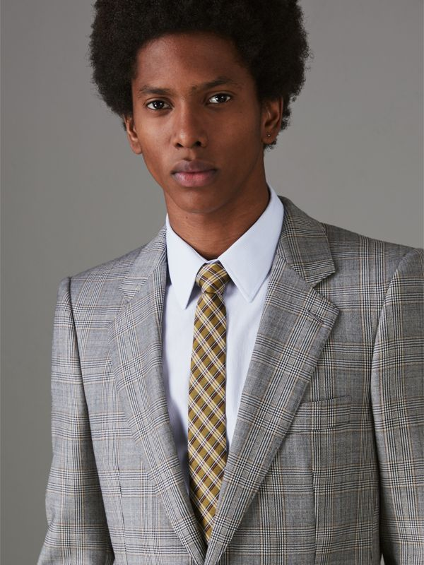 Slim Cut Check Silk Jacquard Tie in Saffron Yellow - Men | Burberry United Kingdom - cell image 2