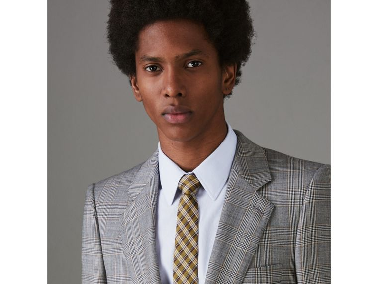 Slim Cut Check Silk Jacquard Tie in Saffron Yellow - Men | Burberry - cell image 2