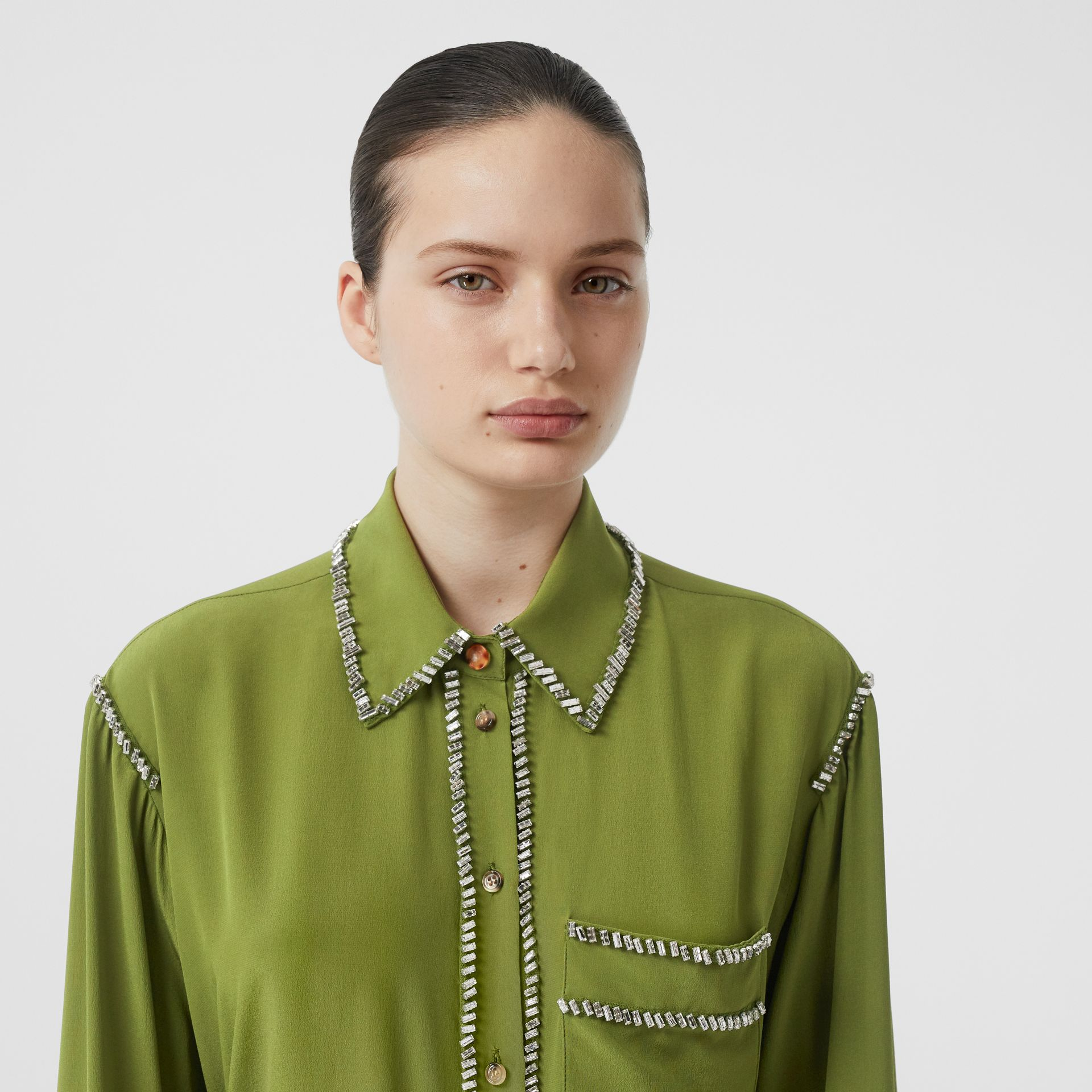 Embellished Silk Oversized Shirt in Cedar Green - Women | Burberry - gallery image 1