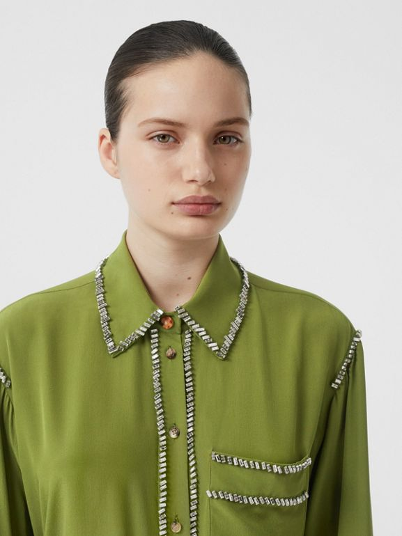 Embellished Silk Oversized Shirt in Cedar Green - Women | Burberry - cell image 1