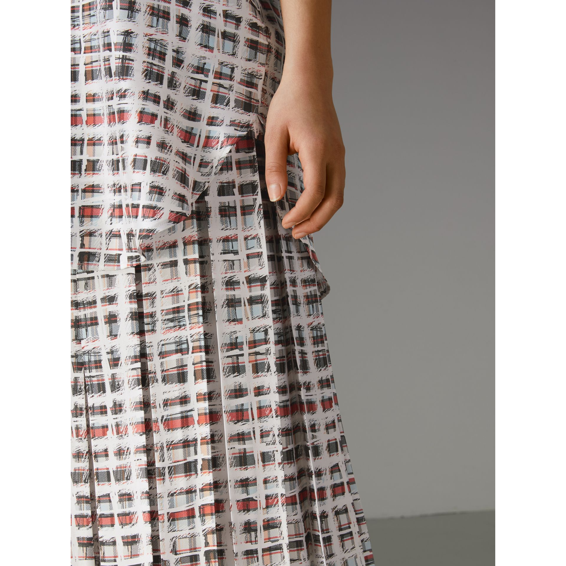 Pleated Scribble Check Silk Skirt in Cadmium Red - Women | Burberry - gallery image 1
