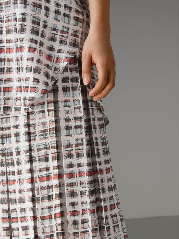 Pleated Scribble Check Silk Skirt in Cadmium Red - Women | Burberry - cell image 1