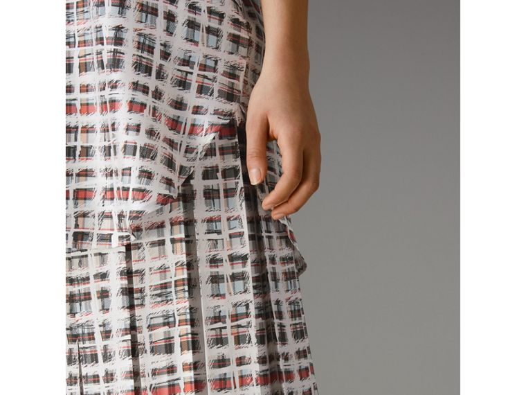 Pleated Scribble Check Silk Skirt in Cadmium Red - Women | Burberry Singapore - cell image 1