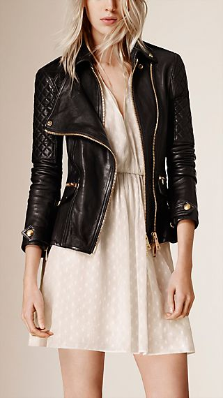 Diamond Quilt Detail Leather Biker Jacket